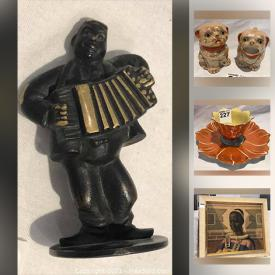 MaxSold Auction: This online auction features collectibles such as vintage lustreware, jadeite, fine china, and sterling silver, 14k gold earrings, art such as signed art pottery, Murano glass, and original painting, mantel clocks, dishware, glassware, vintage barware, lamps and much more!