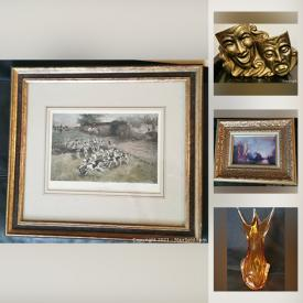 MaxSold Auction: This online auction features Art Glass, Antique framed Lithographs, Vintage Necklaces, Antique Copper Vessels, Carved Wood and much more!