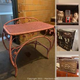 MaxSold Auction: This online auction features Duncan Phyfe Dining Tables, Papasan Chair Ashley Furniture, MCM Lamps, Pet Supplies, Exterior Patio Doors, Stereo Components, Wicker Furniture, Stained Glass Windows, NIB Gas Dryer, Display Cabinets, Smoker Table, Microwaves, Vintage Icebox and much more!