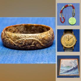MaxSold Auction: This online auction features Jade pendant necklace, watch, coin, Jade bangles, antique sterling, Kosta Boda art glass, Murano glass, Disney hand-painted etchings, sterling silver jewelry, and much more!