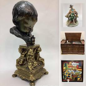 MaxSold Auction: This online auction features porcelain pieces by makers such as Capodimonte and Lladro, antique furniture, glassware, dishware, crystal, records, vintage electronics including audio systems and cameras, silver plate, wall art and much more!!