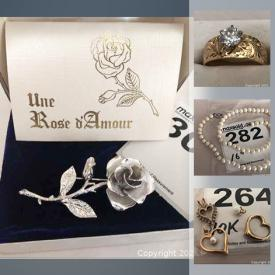 MaxSold Auction: This online auction features 18k gold rings, 14k gold bracelets & pendants,10k gold rings,10k gold charms, pearl necklace, sterling silver charm bracelets, Swarovski jewelry and much more!