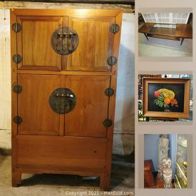 MaxSold Auction: This online auction features Chinese fruitwood Armoire, cast iron bathtub, standing refrigerator, keyboard, antique furniture, antique pump organ, militaria pins, buttons and medals, teacups, chest freezer and much more!