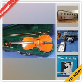 MaxSold Auction: This online auction features violins, bows, cases, cameras, ladies' watches, men's watches, Jade pendant, silver jewelry, stereo components, LPs and much more!
