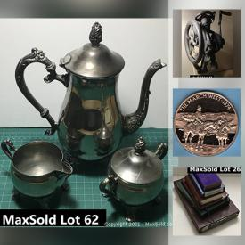 MaxSold Auction: This online auction features books, insulators, ice bucket, mixed decor, prints, Christmas ornaments, antique wall mount drill press, brass items, wicker lamps, crates, coins, vintage bottles, DVDs, canvas rolls, coat rack, tea posters, vintage food grinder and much more!
