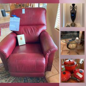MaxSold Auction: This online auction features new Leather Lazy Boy recliner, Leather couch, Home decor, Leather bar stools, tea cart, Le Creuset cookware, Le Creuset kettle, outdoor patio furniture, outdoor metal decor, area rugs, lamps, office furniture and much more.