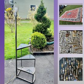 MaxSold Auction: This online auction features jewelry, camera, Corningware, Midcentury items, lamps, Woman shoes, Military items, collectibles, silverware, Florentine Fantasia fine China, Shopkins dolls collection, bar stool, Serigraph, collectible plates, pottery vase, Baseball gloves, rug and much more.