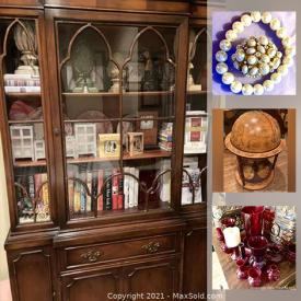 MaxSold Auction: This online auction features sports Memorabilia, costume jewelry, blue glass, puzzles, board games, Holiday decor, Globe bar, vintage jewelry, ribbon, doll room boxes and much more!