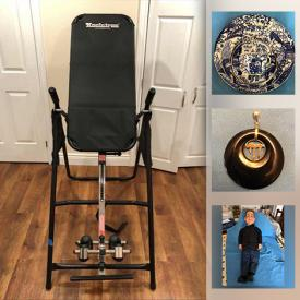 MaxSold Auction: This online auction features an inversion table, Royal Crown Derby Mikado, gold and onyx pendant, Jeff Dunham ventriloquist doll, 14k gold earrings, Royal Doulton figurines, Neato robotic vacuum, Bunnykins, Lladro polar bear, golf clubs, DVD player, power inverter, games, brass items and much more!