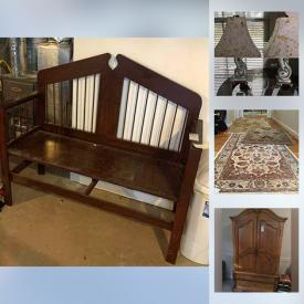 """MaxSold Auction: This online auction features Stair Lift, Lenox, Waterford, Mikasa china, sterling silver, 14k jewelry, 26"""" Toshiba TV, Sharp stereo, and 32"""" Vizio TV, furniture such as power lift chair, bar stools, secretary desk, love seat, and Bassett entertainment cabinet, framed artwork, lamps, CDs, DVDs, area rugs, small kitchen appliances, dishware, glassware, handbags, costume jewelry, records, bistro sets, Schwinn bike and much more!"""