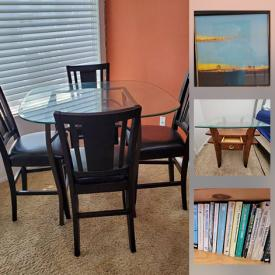 MaxSold Auction: This online auction features Living room and dining room furniture, Signed Artwork, Books, Bookcases, and more.