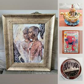 MaxSold Auction: This online auction features collectibles such as Franklin Mint, unopened baseball cards, hockey cards, first edition Spider-Man, and coin sets, art such as signed paintings, signed prints, and art glass, NIB items such as skincare, fossil ring, DreamTent, and plastic gloves, signed pottery, home decor, DVDs, hockey equipment, books, kitchenware, costume jewelry and much more!