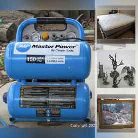 """MaxSold Auction: This online auction features new items such as Honda dash cover, Craftsman laser level, and 12V batteries, furniture such as loveseat, ottoman, end tables, and bar stools, 40"""" Phillips TV, women's footwear, scrubs, small kitchen appliances, Coleman tent, folding chairs, air beds, Rotozip, portable AC, electric Razor scooter, pet supplies, home decor, luggage, wall art, power tools, hand tools and much more!"""