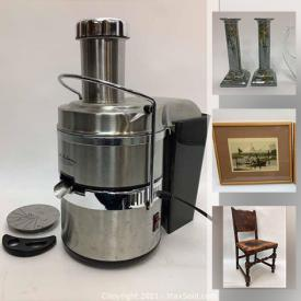 MaxSold Auction: This online auction features small kitchen appliances, TV, art glass, Artisan crafted handmade teacups, cranberry glass, blue milk glass, vintage hanging lanterns, silver plate serving ware, vintage mantel clocks, antique cast iron stove and much more!