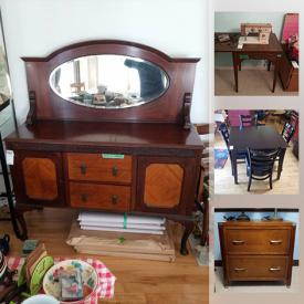 MaxSold Auction: This online auction features crafting supplies, toys, video game systems, Patio furniture, jewelry, small kitchen appliances, sewing machine, sports equipment, TV, vintage decorative plates and much more!