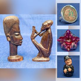 MaxSold Auction: This online auction features watches, Jadestone seal, Ancient Roman rings, Ancient 925 silver buttons, Jade carved bangles, Beaded Jade necklaces, signed numbered Disney etchings, art glass, Toby jug, Asian glass bonsai tree and much more!