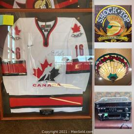 MaxSold Auction: This online auction features Neon Bar Lights, Framed Hockey Jerseys, Framed Photographs, High Top Bar Chairs, Stained Glass Lamps, Beer Taps, Condiment Caddies, TVs, Desktop Computer, Glass Chiller Stained Glass, NIB Security camera and much more!