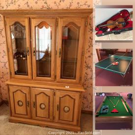 MaxSold Auction: This online auction features Oak furniture, art glass, collectible teacups, table lamps, small kitchen appliances, souvenir spoons, jewelry, coins, stamps, violin, ping pong table, pool table, treadmill, shop-vac, lawnmower and much more!
