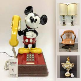 MaxSold Auction: This online auction features DISNEY Products, vintage furniture, Crystal, Red Lacquer glasses, Hurricane lamps and much more.