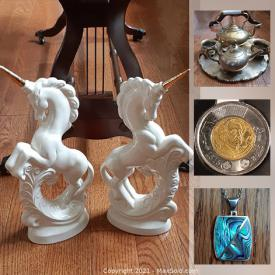 MaxSold Auction: This online auction features vintage Black Alaskan Diamond, First Nations pewter pot, coins, vintage Abalone pendant necklace, first nations art, sterling silver jewelry, Tribal masks, model tall ship, vintage Star Wars interactive talking banks, vintage spoon collection and much more!