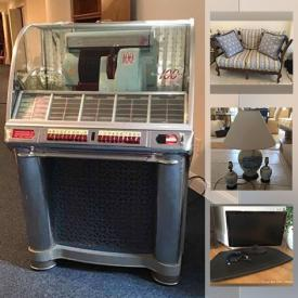 MaxSold Auction: This online auction features Seeburg Jukebox, Ping Pong Table, Foosball Table, Lenox China, Depression Glass, Glass Chess Set, Small Kitchen Appliances, Stein, Area Rug, Child's Patio Set, Portable Grill, Yard Tools, Nutcrackers, TVs and much more!
