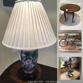 MaxSold Auction: This online auction features Limited Edition signed prints, Oak dining room and bedroom furniture, Artisan pottery, Royal Doulton china, Olympic Mascot toys, office furniture, Fly fishing tying station, bike, power tools including drill press, grinder, air compressor and much more!