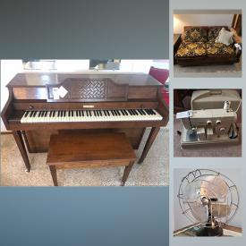 MaxSold Auction: This online auction features vintage furniture, vintage sewing machine, electronics, Baldwin piano, office furniture, upright freezer, lawnmower and much more.