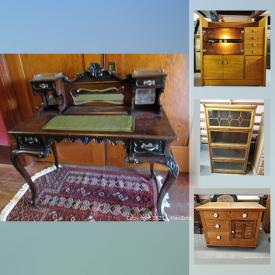 MaxSold Auction: This online auction features antique mahogany desk, antique foot-pump organ, MCM pottery, wooden sculpture, art glass, folk art, framed artwork, MCM furniture, Wicker furniture, teaspoon collection and much more!