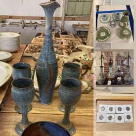 MaxSold Auction: This online auction features coin sets, Jade, sterling silver, Nippon, Wedgewood, vintage pyrex, pottery, Limoges, antique furniture and much more.