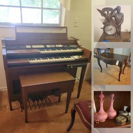 MaxSold Auction: This online auction features Whitney Chicago piano, Baldwin electric piano, collectibles such as Spode, sterling silver, silver plate, and matchbook collections, furniture such as Ethan Allen dresser, vintage chairs, colonial-style couch, electric recliner, and architectural desk, wall art, bookshelves, glassware, home decor, signed books, cookware, Emerson microwave, Cuisinart toaster oven, Samsonite luggage, frigidaire freezer, Bose radio and much more!