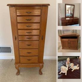 MaxSold Auction: This online auction features collectibles such as Waterford, Lenox, and Swarovski, Yamaha stereo, furniture such as cherry chest of drawers, oak TV stand, and kitchen table with chairs, glassware, handbags, watches, small kitchen appliances, exercise equipment, garden tools, women's footwear, sterling silver and costume jewelry, office supplies and much more!