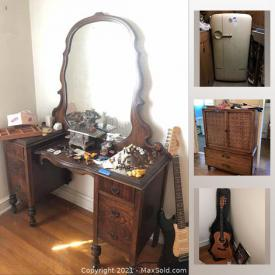 MaxSold Auction: This online auction features vintage toys, microscope, electronics, computer supplies, sporting goods, vintage clothing, statues, vintage dolls, guitars, Geodes, shells, sterling silver tableware and much more.
