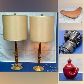 MaxSold Auction: This online auction features Enamel plate, art glass, tin containers, cookie jar, decanter set, art deco furnishing, collectible teacups, watches, coins, MCM table and much more!