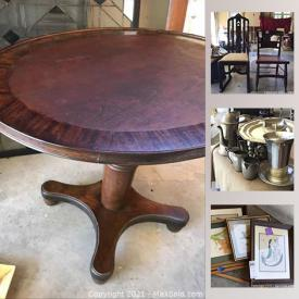 MaxSold Auction: This online auction features furniture such as an oval side table, slipper chair, tray with stand, wooden shelf and stool, chairs and more, aluminum platters, baskets, antique room divider, copper and brass items, jewelry, framed art, table lamps, china, library steps, books and much more!