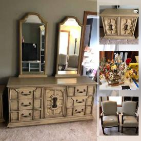 "MaxSold Auction: This online auction features collectibles such as silver plate, Disney and Norman Rockwell, furniture such as wooden dining table, dining chairs, armoire, and bar, 50"" Panasonic TV, lamps, wall art, gardening tools, shelving units, hardwood flooring, power tools, hardware and much more!"