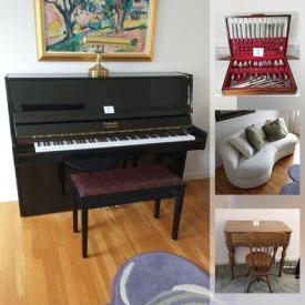 MaxSold Auction: This online auction features Scandinavian design furniture, upright piano, art glass, pampered chef stoneware, art deco lamps, framed posters and much more!