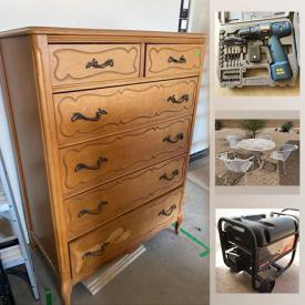 MaxSold Auction: This online auction features Patio furniture, medical supplies, telescope, furniture, ladders, office supplies, generator, drill press, hand tools and much more.