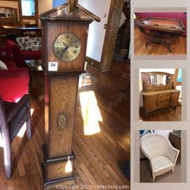 MaxSold Auction: This online auction features iron headboard, antique desk, vintage dresser, vitrine cabinet, vintage paperclip stools, refrigerator, framed silk embroidery, pocket watches, jewelry, coins & banknotes, stamps and much more!