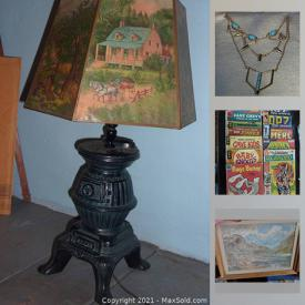 MaxSold Auction: This online auction features sports collectibles, collectible teacups, art glass, toys, vintage books, comics, jewelry, watches, coins, antique bridge lamp, Cloisonne egg and much more!