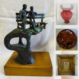 MaxSold Auction: This online auction features Wood Model Ships, art glass, cranberry glass, antique flow blue ware, Hummels, cast iron bank, Inuit soapstone carvings, Swarovski crystal figurines, oil lamps, antique postcards, antique barber chair and much more!