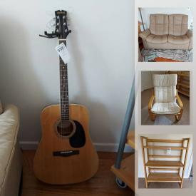 MaxSold Auction: This online auction features furniture such as a sofa bed, futon sofa, folding bookshelves, cubbies, patio chair, dining table, chairs, side tables and more, guitar, tray table, woven placemats, wall art, clock, jewelry, sports items and much more!
