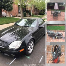 MaxSold Auction: This online auction features a 2001 Mercedes Convertible, wicker room divider, wicker loveseat and chairs, side table, electronics, stand, glass and figurines, drinkware, lawnmower, power washer, books, studded animals, loveseat, dehumidifier, fan, cabinets, fondue set and more!