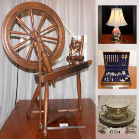 MaxSold Auction: This online auction features Antique Figurine, Antique Wedgwood, Cranberry Glass, Collector Plates, Portmeirion, Moorcroft, Watches, Art Pottery, Fenton Glass, Vintage Jewelry, Spinning Wheel and much more!