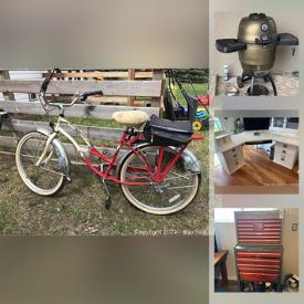 """MaxSold Auction: This online auction features collectibles such as fine china, silver plate, Lladro, Nintendo 64 games, NIB items such as wall hooks, solar lights, and Snapware storage, furniture such as antique cabinets, wooden chairs, wood dining table, and hanger hall tree with stained glass, electronics such as LG 50"""" TV, Bose radio, and computer peripherals, live edge wood, wall art, area rugs, Sony receiver, Schwinn bicycle, garden tools, tiling, fishing gear, power tools, Dyson vacuums, dishware, small kitchen appliances and much more!"""