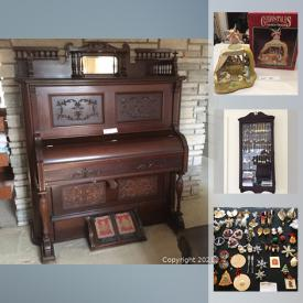 MaxSold Auction: This online auction features Carnival Glass, Stationary, antique pottery, medical supplies, piano, Organ, tons of crafting supplies, camping and sporting goods, antiques and much more.