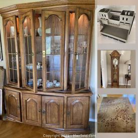 MaxSold Auction: This online auction features antique tools, garden tools, golf clubs, Desert Rose Dishes, collectible teacups, board games, grandfather clock, area rug and much more!