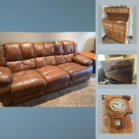 MaxSold Auction: This online auction features Amish-made oak furniture, art pottery, cameras, costume jewelry, leather sofa, TV, small kitchen appliances, bikes, golf clubs chainsaw and much more!