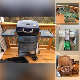 MaxSold Auction: This online auction features tools including Briggs and Stratton and lawn-boy lawnmowers, Arian snowblower, chainsaws, trimmers, garden tools. Construction and plumbing materials. China including Royal Albert, Colclough, Windsor, Winterling. Furniture including bedroom, dining, roll top desk, wicker, grandfather clocks. Seasonal décor and house décor including lamps, faux flowers, vases, clocks, rugs, chandeliers, framed prints, nautical décor and a piano. Electronics including printers, TVs, Yamaha and Pioneer speakers, Retro disc player, turntables, Sony Samsung and Panasonic stereo equipment. BBQ, patio furniture, Zero Gravity chairs and much more!