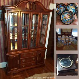 MaxSold Auction: This online auction features a hope chest, telephone on stand, wall art, leather bench, nightstand, mirror with sconce, stained glass panels, statues, clocks, religious wall art, decorative plates, GE washer, blue onion jars, bedframe and much more!