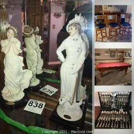 MaxSold Auction: This online auction features Deluxe furniture, Royal China, Porcelain figurines, electronics, home decor and apps, flatware, records, NASCAR and outdoor apps and much more.